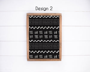 African Mudcloth Design Canvas prints black and white