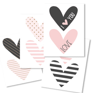 Valentines cute printable banner hearts, pink and gray