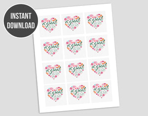 "Young Women 2021 theme ""a great work"" digital cupcake toppers printable file"