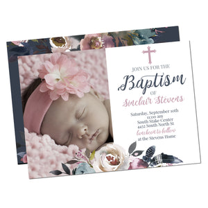 Floral Feather boho beautiful Baptism Christening Invitation