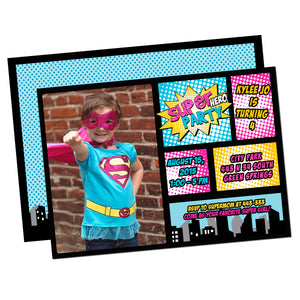Super girl birthday party invitation