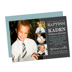 Blue & Gray Baptism/Christening Boy Customized Invitation
