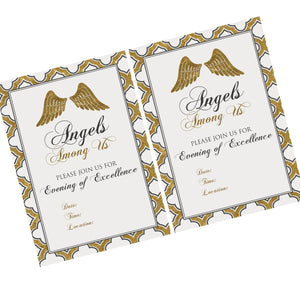 Angels Among Us theme Printables, PDF file Invitation(s) 4 choices in event titles, 2 inch tags and quote cards