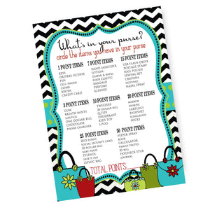 purse game printable, activity, purse party, bridal shower or RS activity printable file