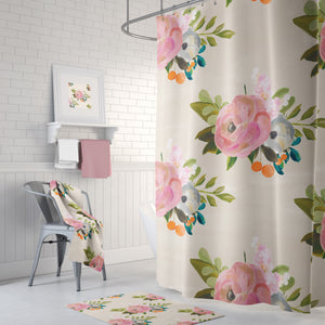 Pink & Cream floral shower collection