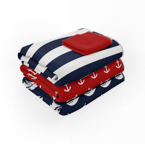 Nautical Red & Navy Sailboat Shower Curtain Collection