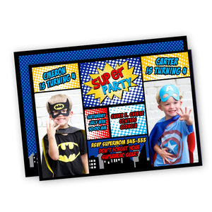 Superhero double birthday party Invitation
