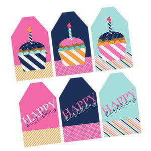 Set of 30 Cupcake Birthday Tags Printed and shipped fast