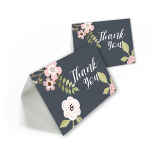 Floral Baby Shower thank you cards with envelopes