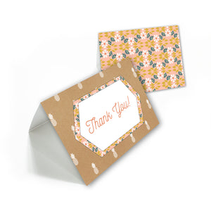 Pineapple floral thank you cards with white envelopes