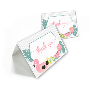 summer party thank you cards with white envelopes