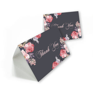 Elegant Floral Watercolor Thank you cards with white envelopes