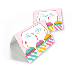 Cupcake Party Thank you cards with envelopes