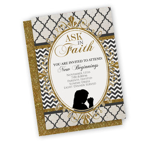 Ask in Faith Invitation for Young Event, customized gold black