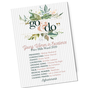 "Young Women 2020 theme program customized, ""Go and Do"" theme"