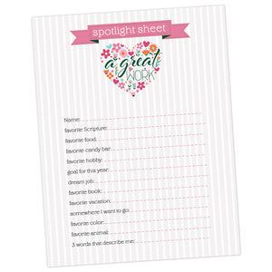 "Young Women 2021 theme ""a great work"" spotlight sheet printable"