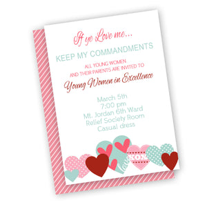 Young Women's invitation, heart new beginnings invitation or evening of excellence invitation
