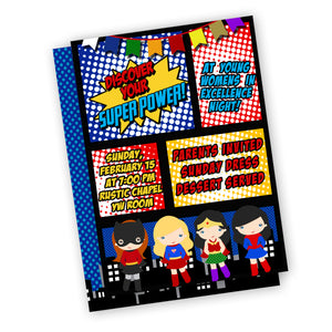 Super Girl Theme Invitation for Young Women's Camp or Evening Of Excellence