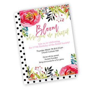 Bloom where you are planted theme invitation