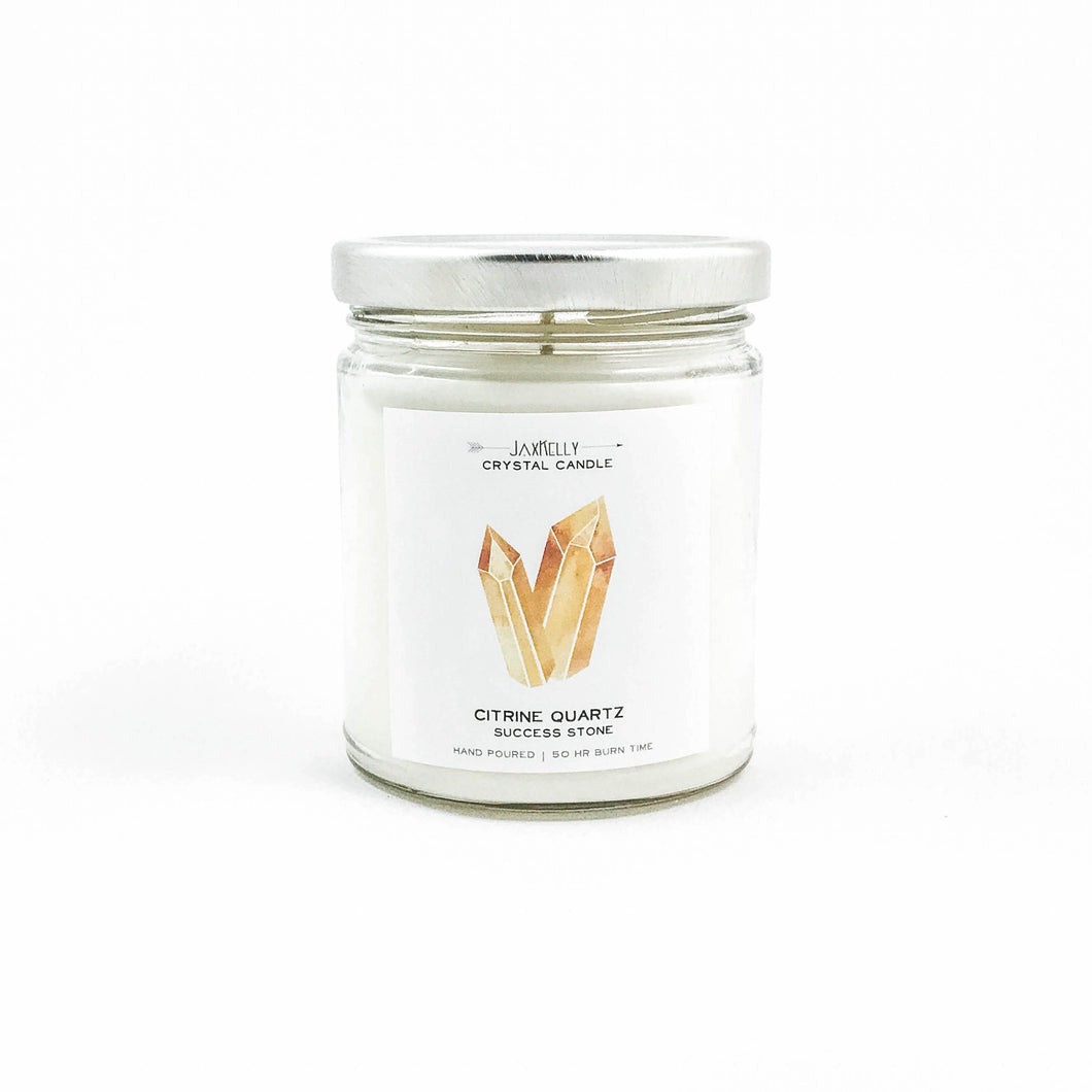 Citrine Grapefruit & Mangosteen Crystal Candle - Success 9 oz