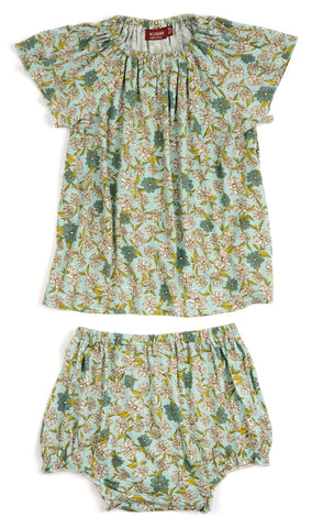 Blue Floral Dress & Bloomer Set