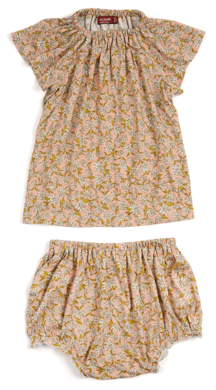 Rose Pink Floral Dress & Bloomer Set