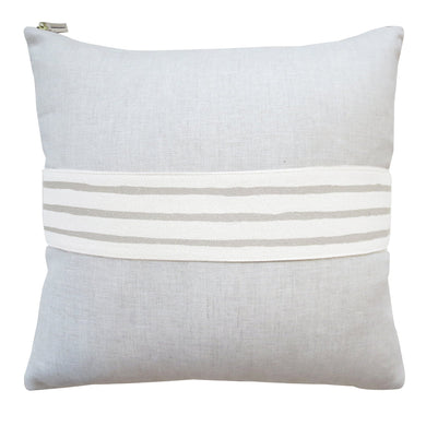 3 Line Oatmeal Band Pillow on Linen (20