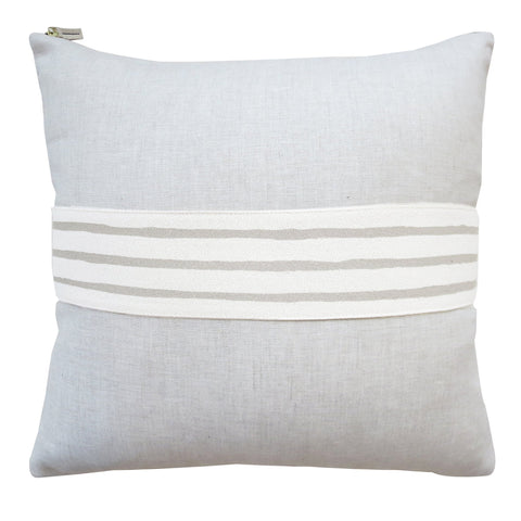 "3 Line Oatmeal Band Pillow on Linen (20"" x 20"")"