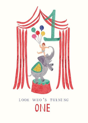 1st Birthday Ellie Elephant Greeting Card