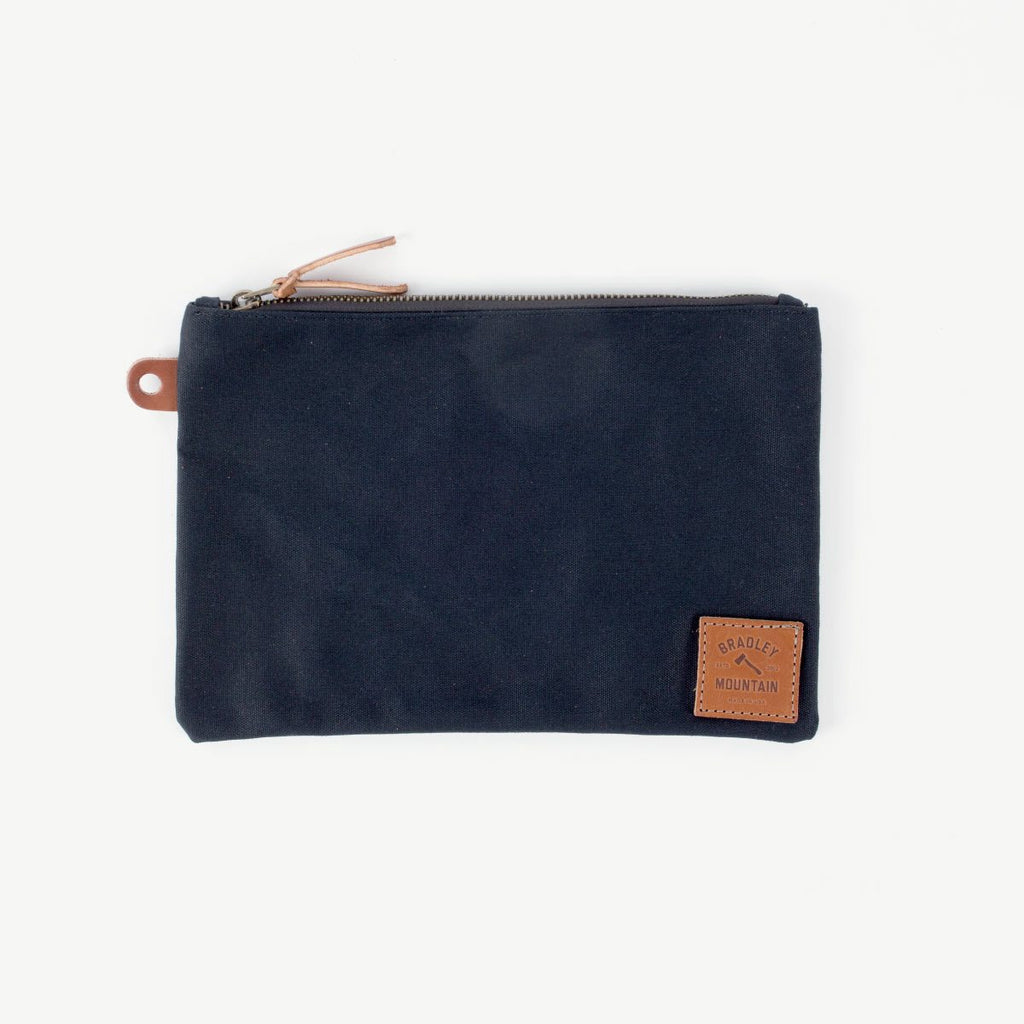 Waxed Canvas Folio Zip Pouch - Black