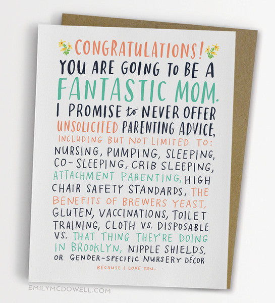 Unsolicited Advice Baby Card