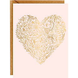 Gold Foil Floral Heart Card