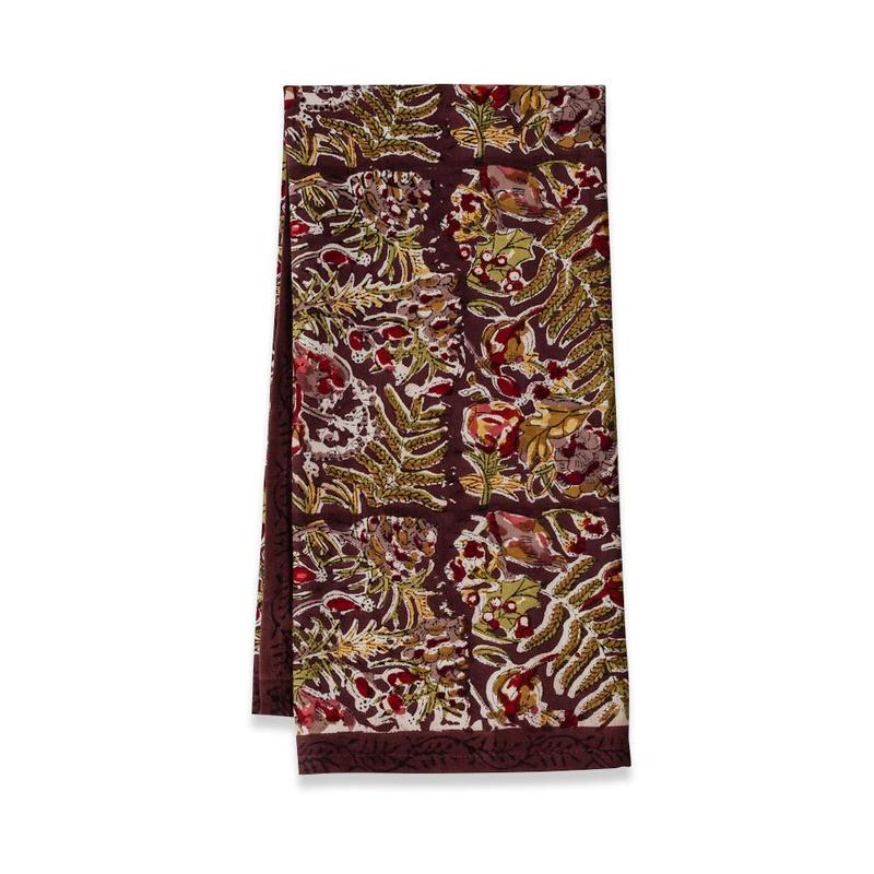 Winter Garden Wreath Tea Towel Mocha