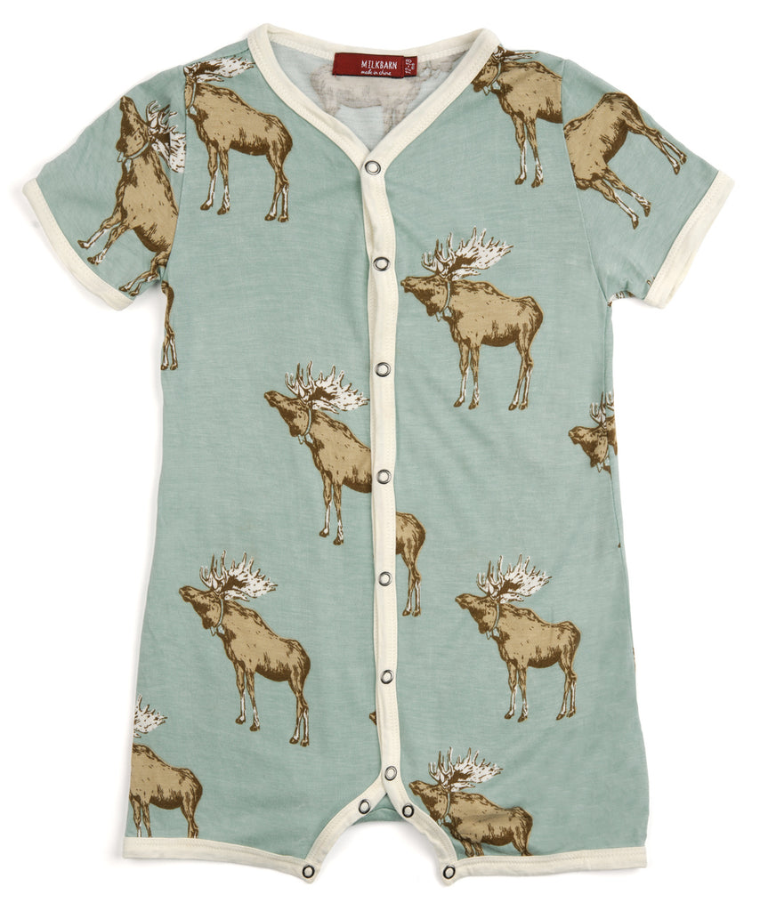 Bow Tie Moose Short Romper