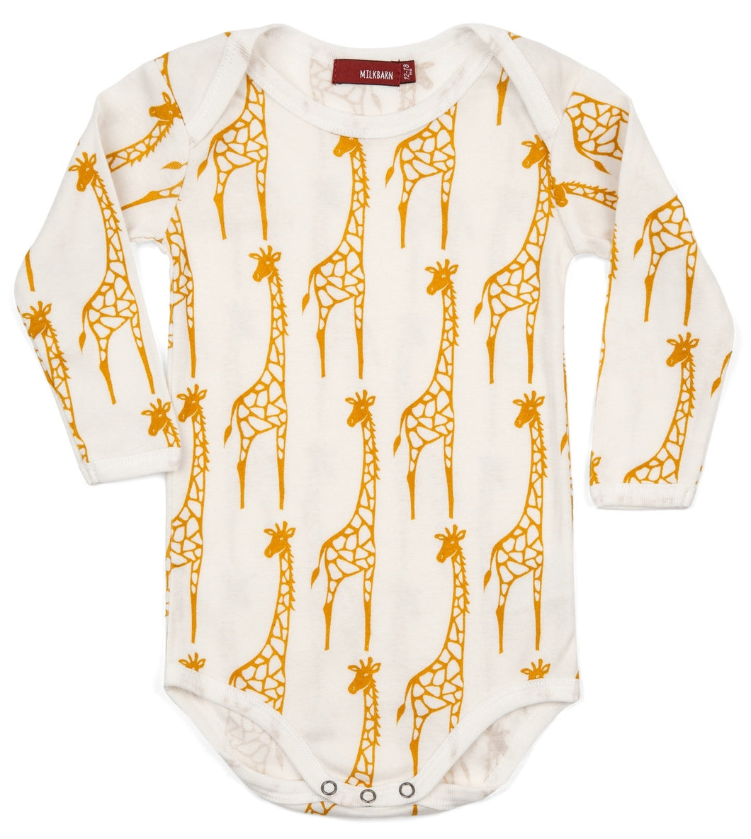 Yellow Giraffe Long Sleeve Onesie