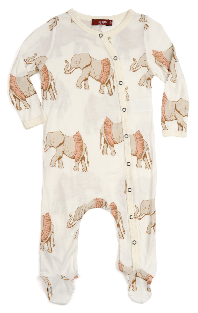Bamboo Footed Romper, Rose Tutu Elephant