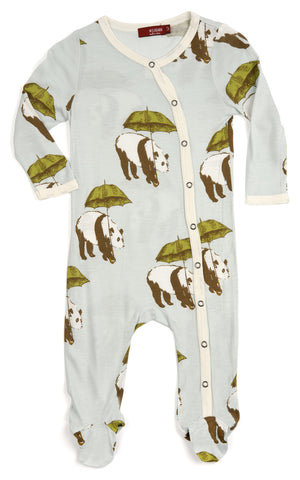 Bamboo Footed Romper, Blue Panda
