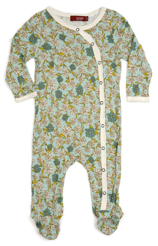 Bamboo Footed Romper, Blue Floral