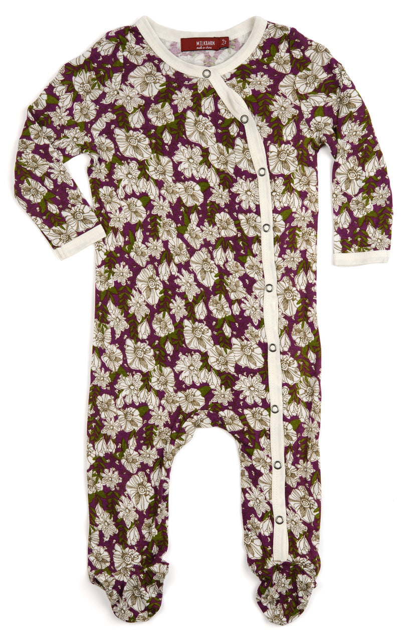 Bamboo Footed Romper, Purple Floral