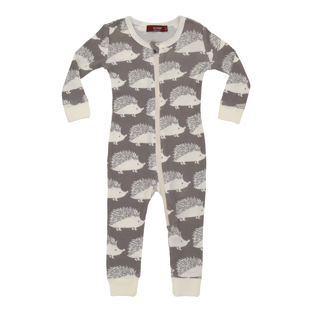 Organic Cotton Zipper Romper Pajamas, Grey Hedgehog