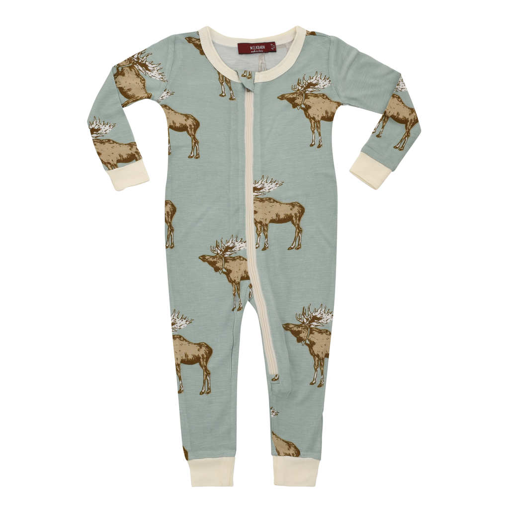 Bamboo Zipper Romper Pajamas, Blue Bowtie Moose