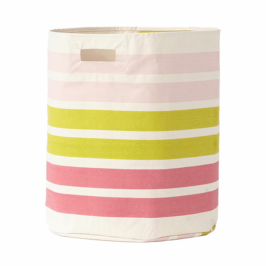 Stripes Hamper, Pink + Green