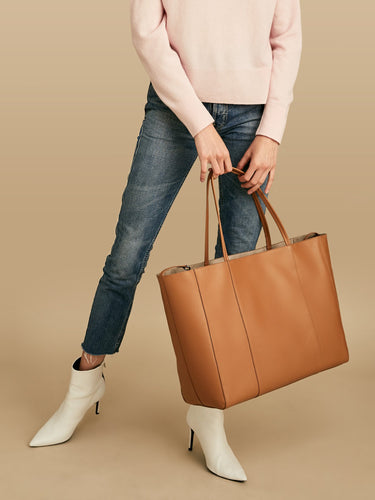 Arianne Leather Carryall Tote Saddle