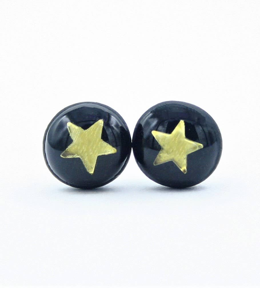 Clay N Wire - Dainty Black and Gold Star Stud Earrings