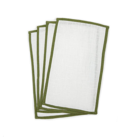 Edge Trim Linen Napkins Set of 4