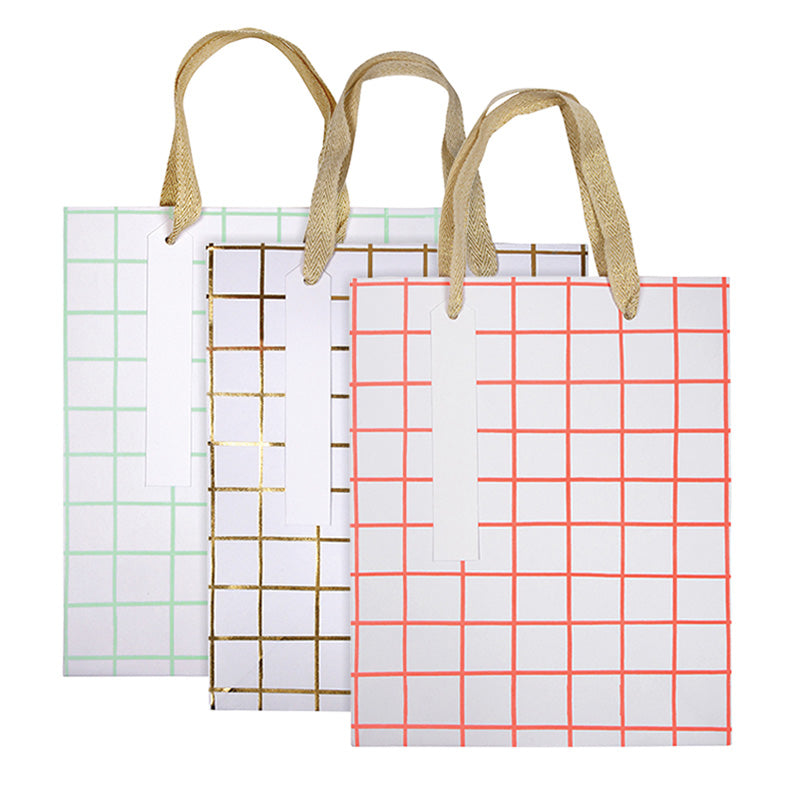 Medium Bag Set, Coral Grid (Set of 3)