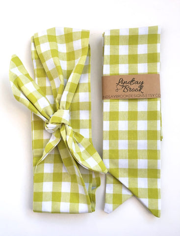 Chartreuse Gingham Hair Scarf