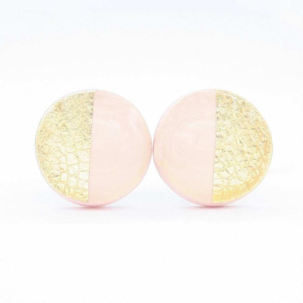 Clay N Wire - Light Pink and Gold Stud Earrings