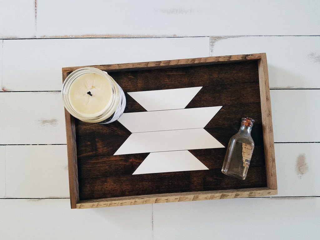 Small Aztec Reclaimed Wood Tray (White)