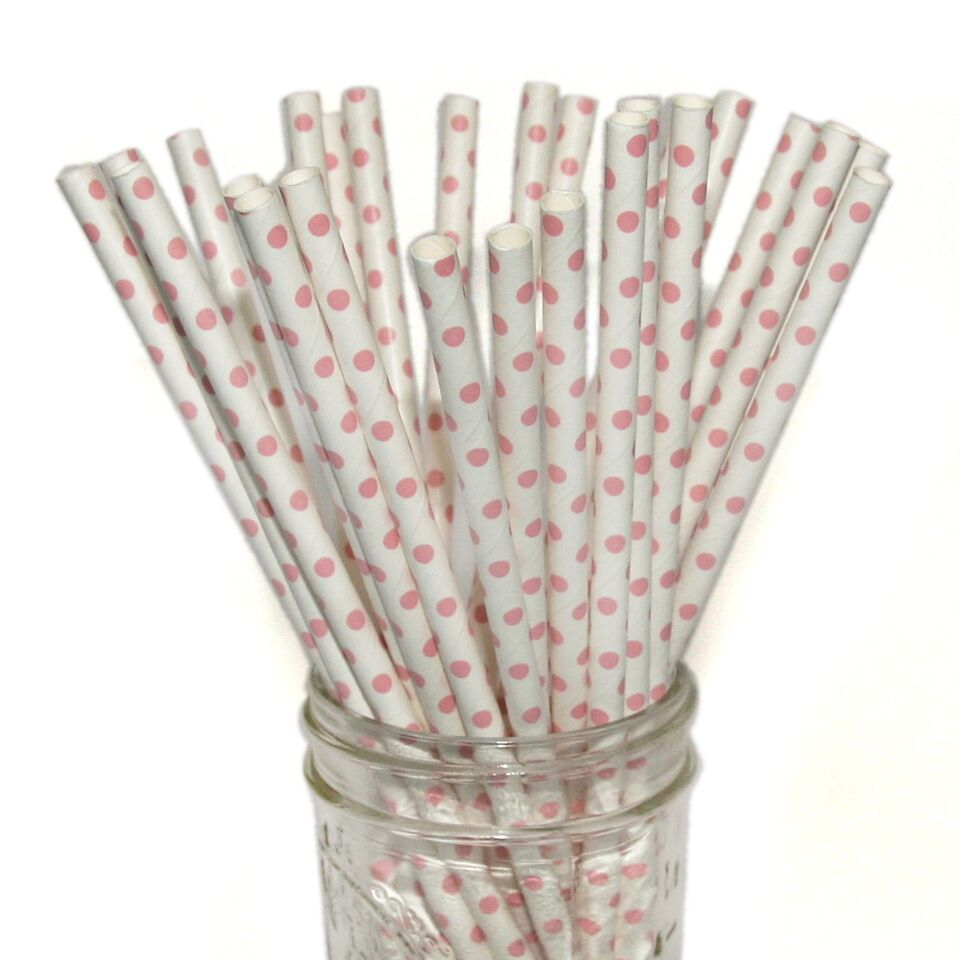 Light Pink Mini Dot Paper Straws 25pc